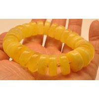 Yellow Baltic amber elastic bracelet