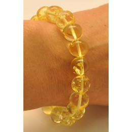 Lemon baroque beads Baltic amber bracelet