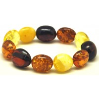 Multicolor amber beads bracelet
