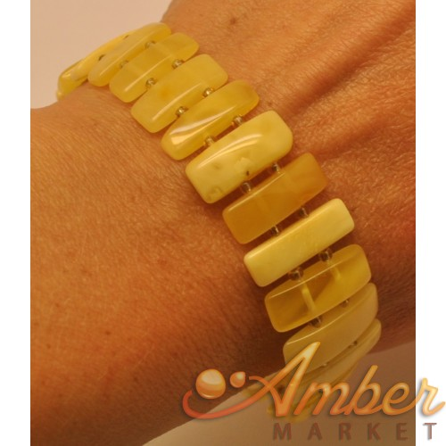 Natural elastic Baltic amber bracelet