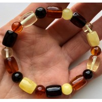 Barrel shape  amber bracelet