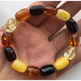 Multicolor barrel shape  amber bracelet