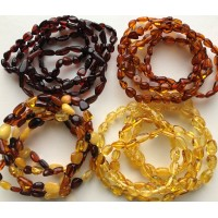 Lot 20 wholesale Natural Baltic amber bean adult bracelet