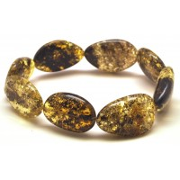 Baltic amber green big beads bracelet