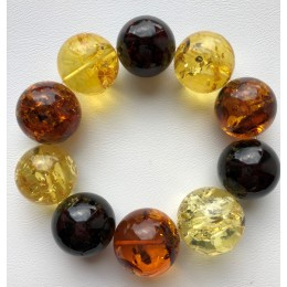 Round beads Baltic amber bracelet 23 mm.
