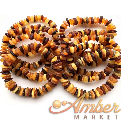 10 Raw multicolor Baltic amber chip bracelets
