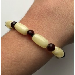 Barrel shape yellow amber bracelet