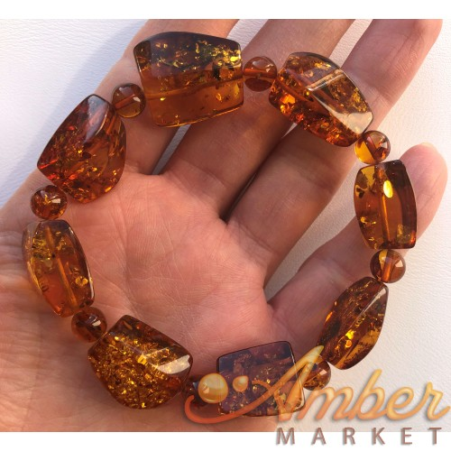 Real Natural Baltic Amber faceted stone cognac beads bracelet