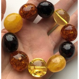 AMBER BRACELET Natural Baltic Amber Big Beads