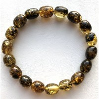 Green olive shape Baltic amber bracelet