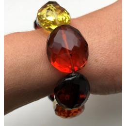 Big beads faceted amber bracelet