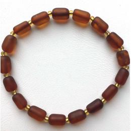 Cognac Baltic amber elastic bracelet