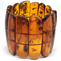 Large Glittering Pieces Genuine BALTIC AMBER Stretch Bracelet 80 g
