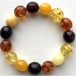 Multicolor olive shape Baltic amber bracelet 16g