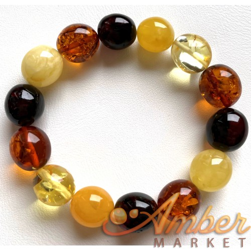 Olive Shape Beads Genuine Baltic Amber Stretch Bracelet 18g