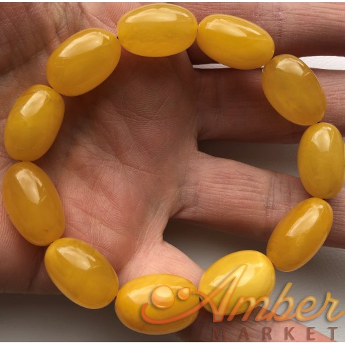 Olive Shape Beads Genuine Baltic Amber Stretch Bracelet