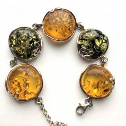 Silver bracelet with Baltic amber