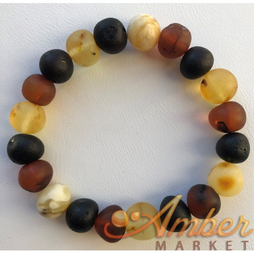 Unpolished baroque beads amber bracelet