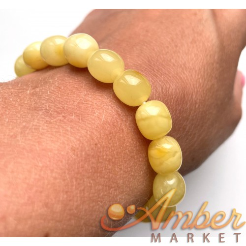 Amber Olive Shape Beads Genuine Bracelet 10 g.