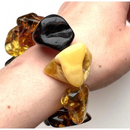 BALTIC AMBER NATURAL SHAPE BEADS BRACELET 41g