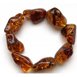 BALTIC AMBER NATURAL SHAPE BEADS BRACELET