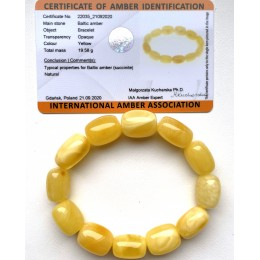 Butterscotch Amber Bracelet, Barrel Beads Egg Yolk Amber Bracelet(Certificate included)