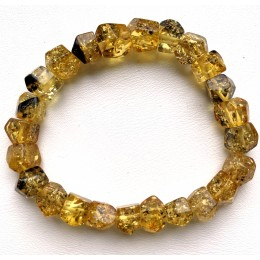 Faceted  beads green Baltic amber bracelet 11 g.