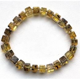 Genuine Natural Stretch Amber Bracelet Cubes