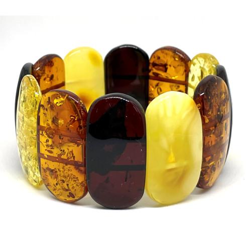 Multicolor BALTIC AMBER  Pieces Stretch Bracelet 34 g