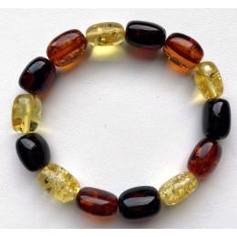Multicolor Barrel Beads Baltic Amber Bracelet