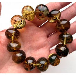 Natural Plant Amber Bracelet Baroque Beads 42g