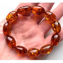 Olive Shape Beads Cognac Baltic Amber Stretch Bracelet
