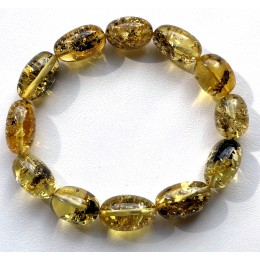 Olive Shape Beads Green Baltic Amber Stretch Bracelet