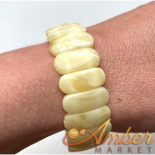 White BALTIC AMBER Stretch Bracelet