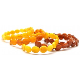 Lot of 5 button shape antique Baltic amber bracelets