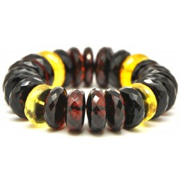 Massive faceted elastic Baltic amber bracelet 72 g.