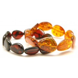 Lot of 2 Baltic amber big beads bracelets