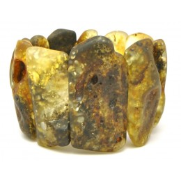 Natural shapes unpolished Baltic amber bracelet 68 g .