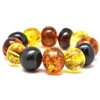 Multicolor baroque beads Baltic amber bracelet 60 g .