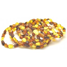 Lot of 10 multicolor beans shape amber bracelets