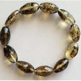 Olive shape faceted amber bracelet