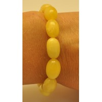 Yellow olive shape Baltic amber bracelet