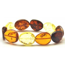 Baltic amber multicolor big beads bracelet