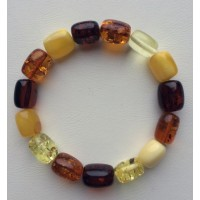 Barrel shape Baltic amber bracelet