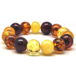 Multicolor baroque beads Baltic amber bracelet