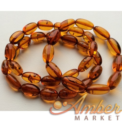 Lot of 3 olive shape amber bracelets