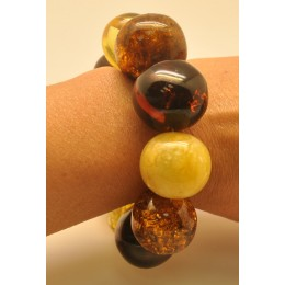 Massive multicolor baroque beads Baltic amber bracelet 88 g .