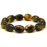 Olive shape green Baltic amber bracelet