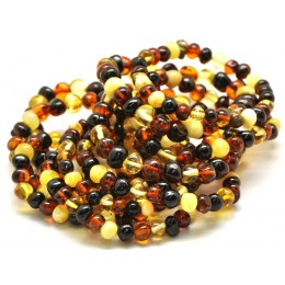 Lot of 10 multicolor baroque beads Baltic amber bracelets