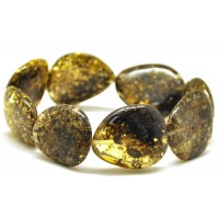 Green Baltic amber big beads bracelet